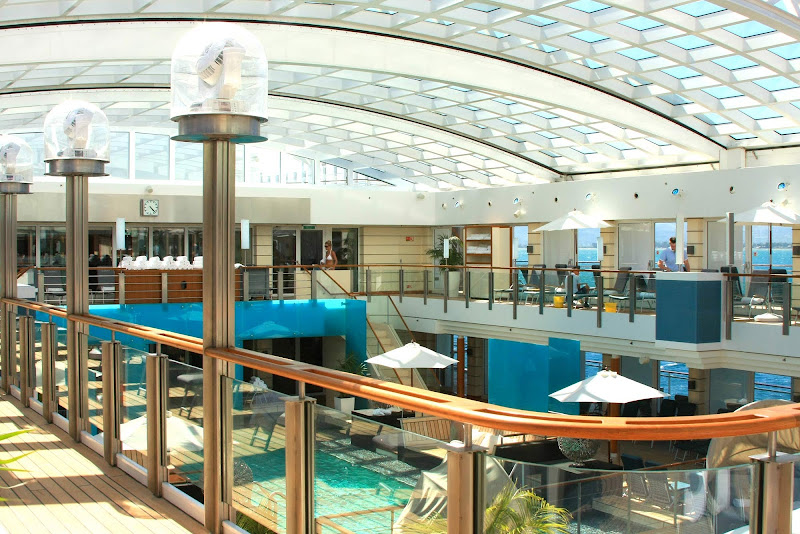 The awesome retractable roof above the pool deck on Europa 2.