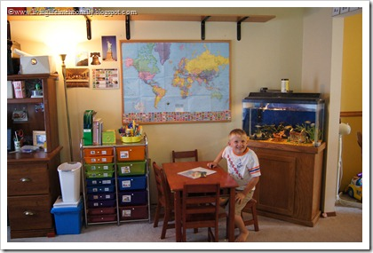 Our homeschool space with workboxes to organize it