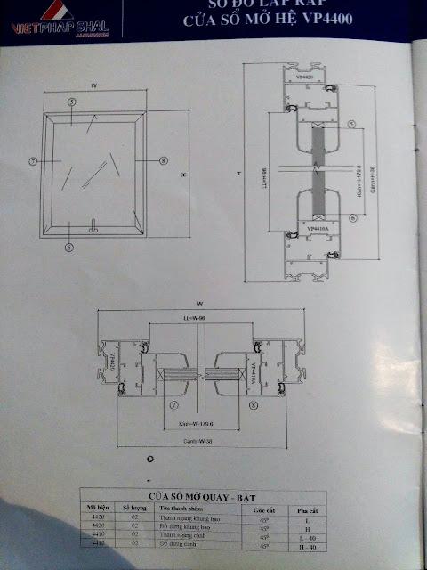 Kết cấu cửa sổ mở quay mở hất hệ 4400-02