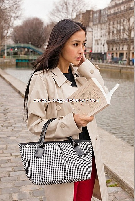 AGNES B 2012 SPRING SUMMER  tote checked bag polka dots ab heart Tote Bags star prints Paris le casino Angelbaby model actress