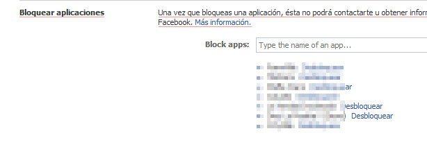 desbloquear aplicaciones en Facebook