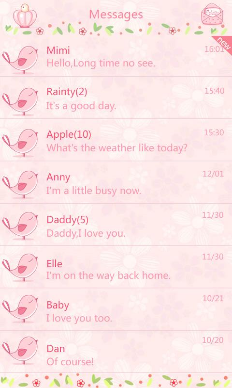 GO SMS Pro Love Petal Theme EX - screenshot
