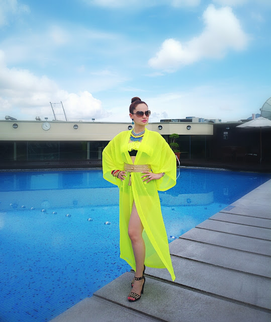 Neon H&M Kimono , High Waist Bikini , Resort Wear