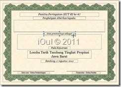Contoh format sertifikat dengan isi yang disesuaikan