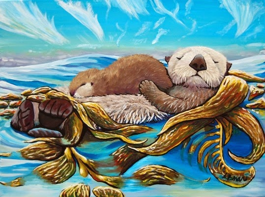 anastasiya bachmanova sea otter mom and pup art