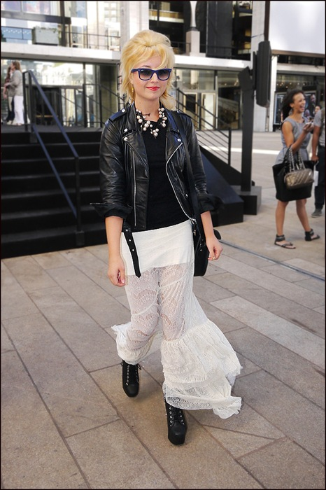 w black motorcycle leather jacket white mini skirt under long white lace skirt black platform ankle boots 2 ol