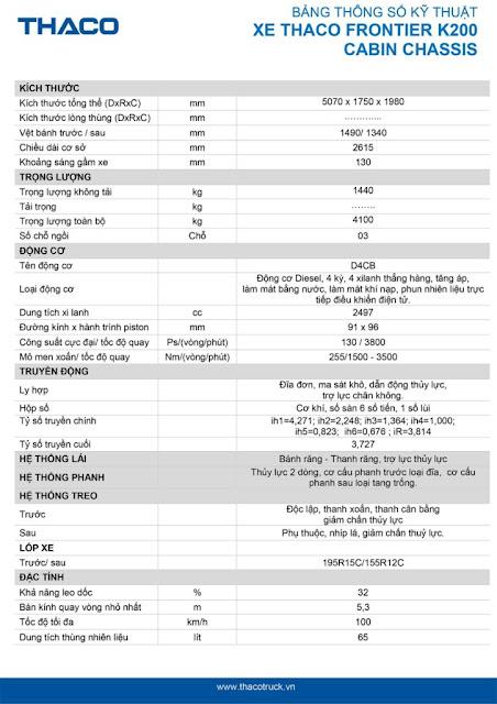 Thông số kỹ thuật xe tải Thaco Kia 250