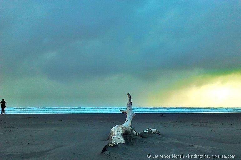 Beach storm girl wood sky