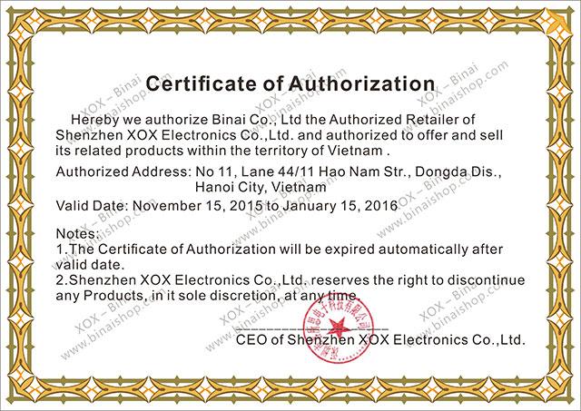 Certificate of XOX