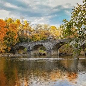 Wilson's Bridge by Sharon Horn - Landscapes Waterscapes ( clouds, water, wilson's bridge, reflection, stream, hagerstown, fall, maryland, wilson bridge, bridge )