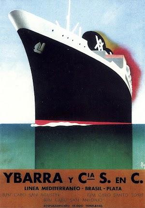 Panfleto informativo de la línea con Sudamérica. Obsérvese la imaginación del artista con las formas del buque. Del libro LA NAVIERA YBARRA.JPG