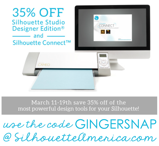 Silhouette Designer Edition Software & Silhouette Connect 35 off using the code GINGERSNAP
