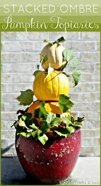 Stacked Ombre Pumpkin Topiaries