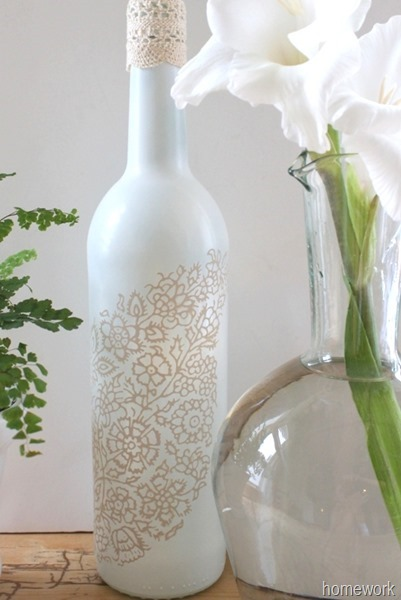 White & Ecru Lace Stenciled Bottle via homework (5)