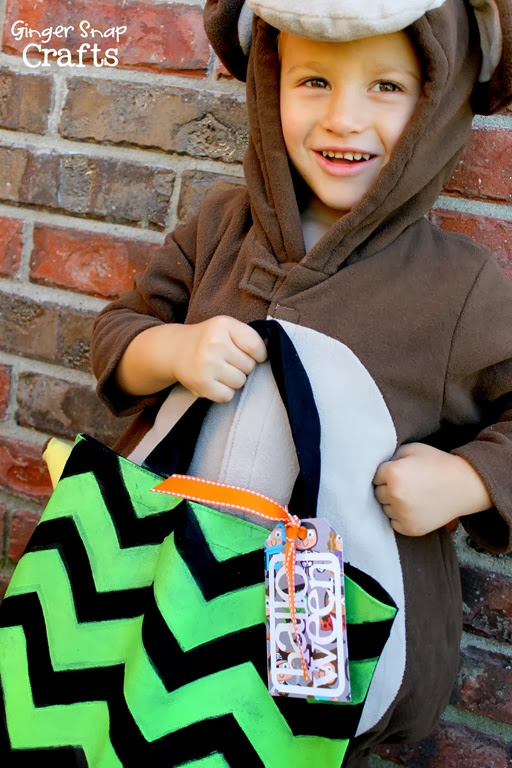 halloween trick or treat bag #chevron #halloween #spon