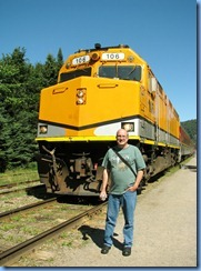 5545 Ontario - Sault Ste Marie - Agawa Canyon Train Tour  -Bill by engine at Agawa Canyon stop