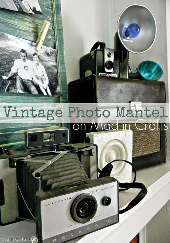 DIY Vintage Photo Mantel on Mad in Crafts