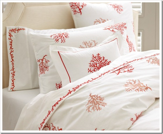 coral embroidered bedding