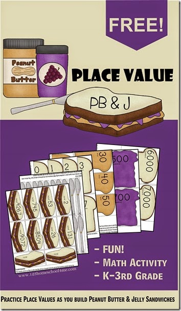FREE Place Value PB and J Sandwiches - This is such a fun, clever place value games or activities for Kindergarten, 1st, first, 2nd, 3rd, or fourth grade kids. (homeschool, math games). WAY better than worksheets for teaching place value!