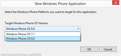 Windows Phone OS Target Version Selector