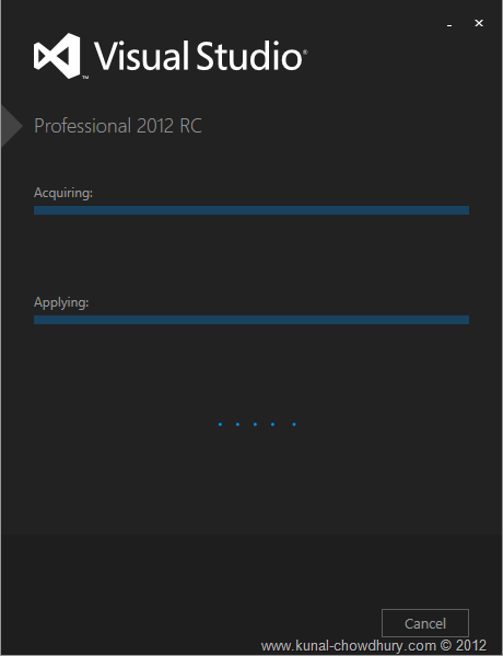 VS2012 Installation Experience - Screen 3 - Starting Installation