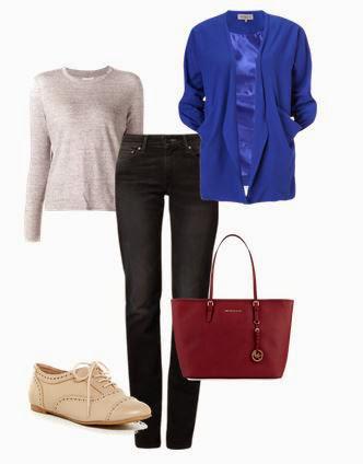 Jenas pretos, camisola bege, casaco azul, sapatos bege e mala vermelha