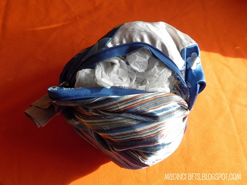 fabric pumpkin stuffed with plastic bags