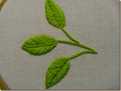 3 leaves - 2 Cretan Stitch and one fly stitch