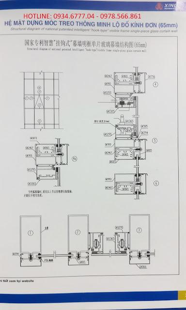 Kết cấu mặt dựng nhôm XIngfa hệ 65-02