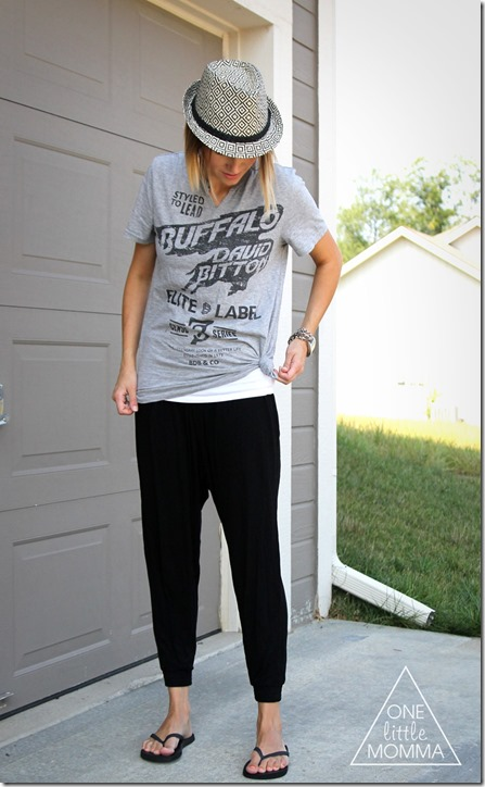 Easy edgy summer outfit- men's graphic tee, harem pants and a fedora