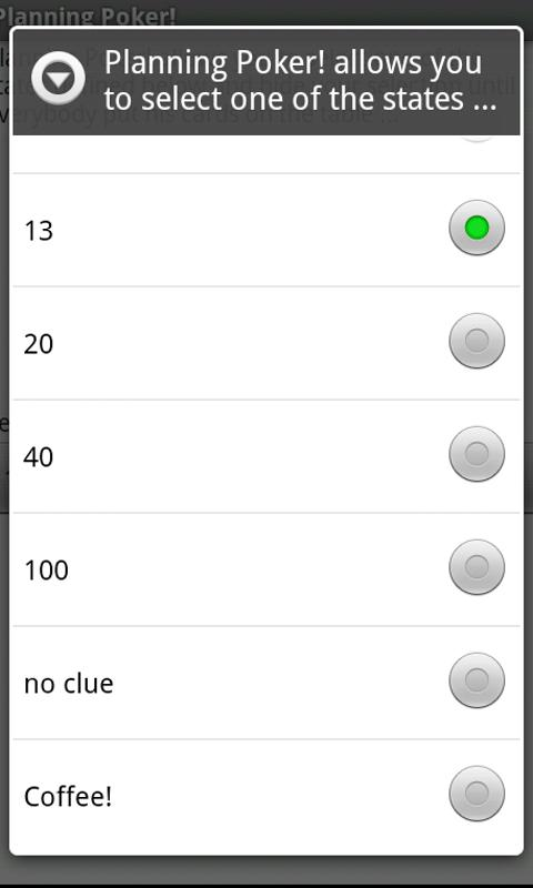 Planning Poker!- screenshot