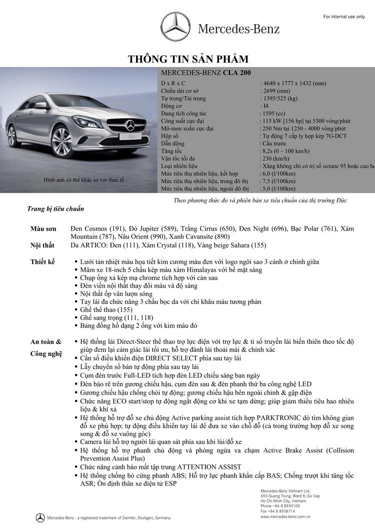 Thông số kỹ thuật xe Mercedes Benz CLA 200 New Model 01