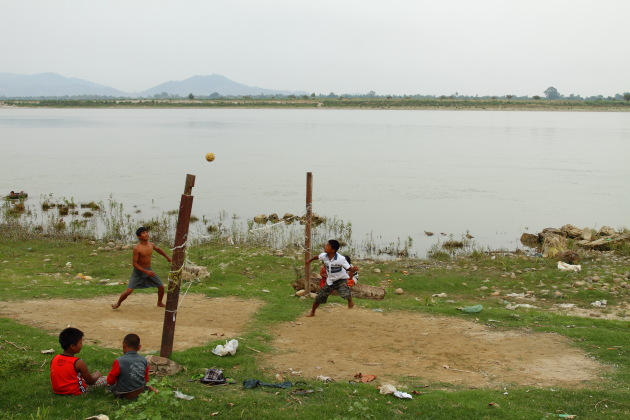 A game of Tillo played next to the banks of the Ayerawaddy river at Myitkyina, Myanmar
