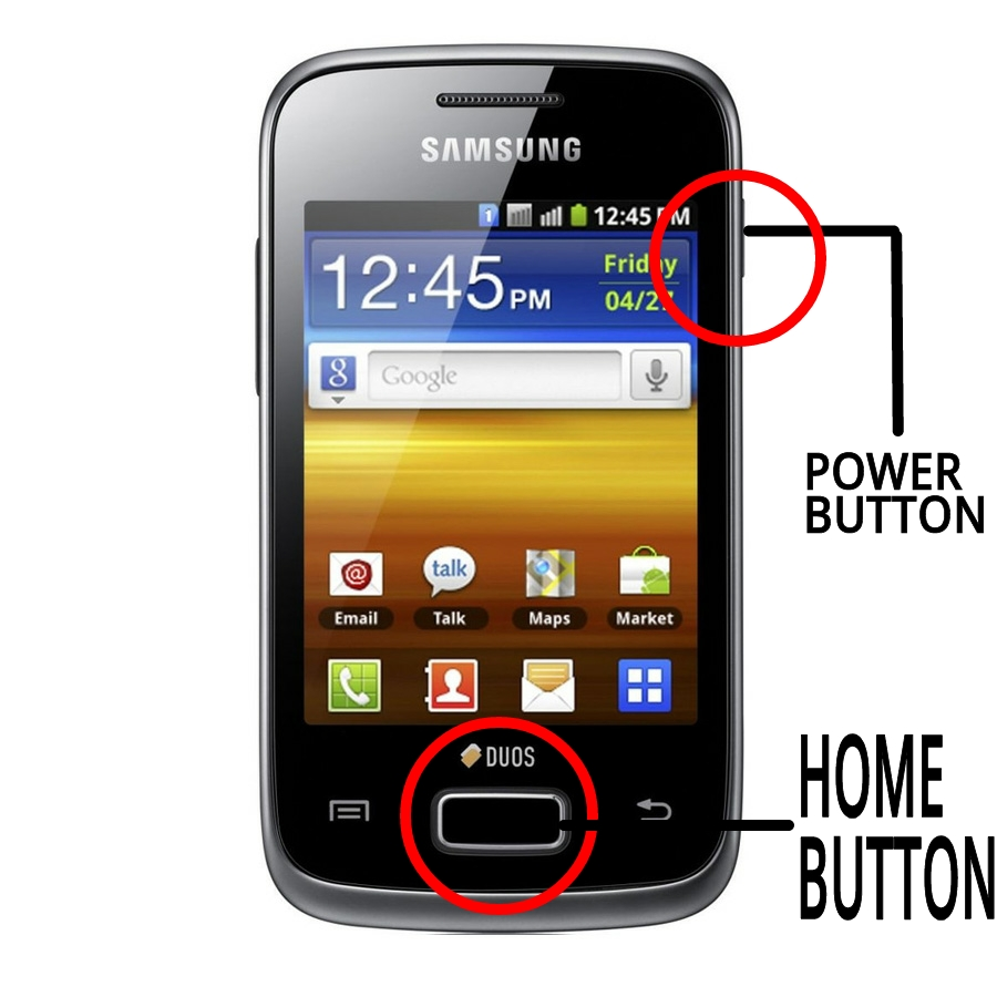 * How Screenshot without drawing android application and without root on samsung galaxy Y GT S5360.