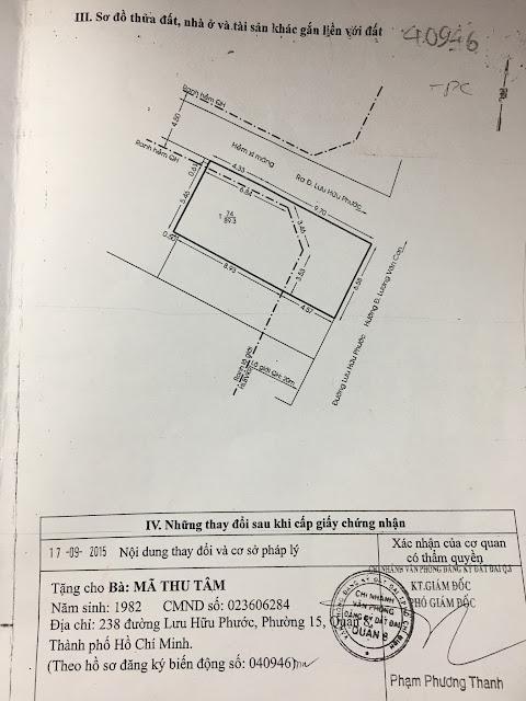 Bán nhà mặt tiền số 238 Lưu Hữu Phước, Phường 15, Quận 8, Tp Hồ Chí Minh 07