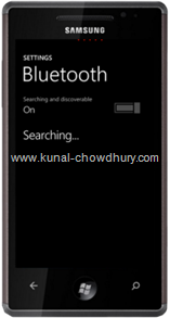 WP7 Settings Page - Bluetooth
