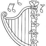 HARP COLORING PAGES