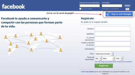Acceder con la cuenta de Google a Facebook
