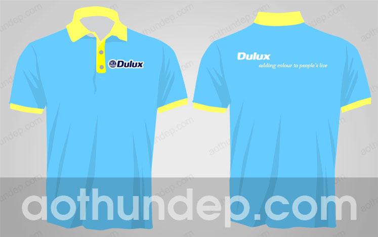 Mẫu áo thun lacoste màu xanh cổ trụ màu vàng - Dulux