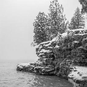 Icy Rocks by Luke Collins - Landscapes Caves & Formations ( wisconsin, november, wi, cave point county park, park, door county, lake michigan, winter, ice, snow, d7100, nikon, cave point )