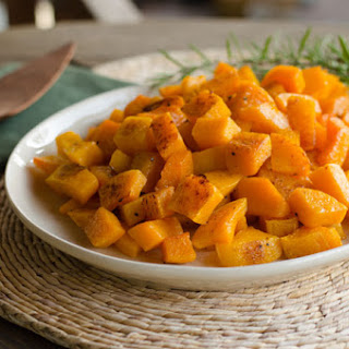 Roasted Butternut Squash with Duck Fat, Garlic and Rosemary.