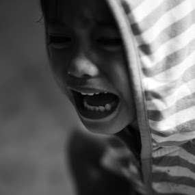 Crying by Yogi Duha - Black & White Portraits & People ( black and white, children, candid, photography,  )
