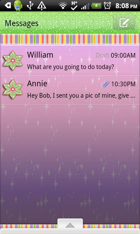 GO SMS THEME/GlitterRainbow- screenshot