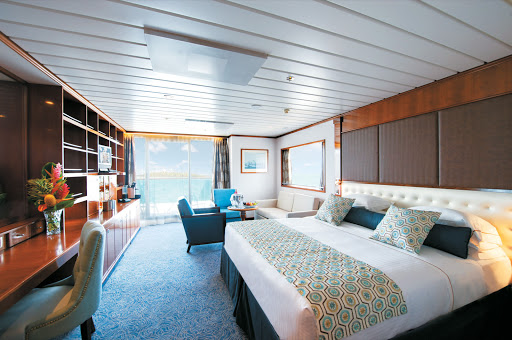 Luxury digs on Paul Gauguin Cruises: Stay in a Grand Suite and enjoy floating around paradise while your butler takes care of your vacation details.