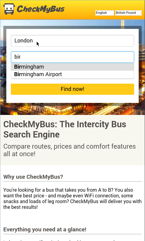 CheckMyBus Compare all Busses- screenshot