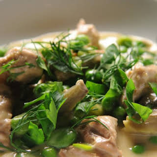 Veal Stew with Artichoke Hearts, Fava Beans, and Peas.