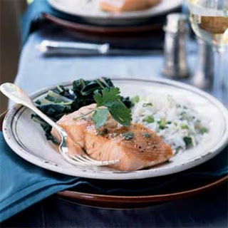 Slow-Roasted Salmon with Bok Choy and Coconut Rice.