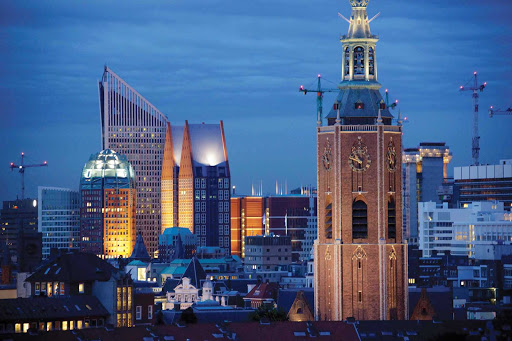 The skyline of The Hague — not the official capital but the seat of government in the Netherlands.