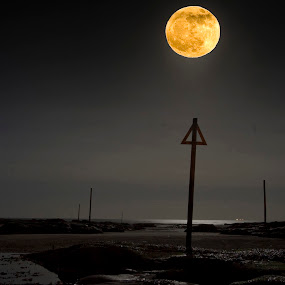 Westhaven moon composite by Ben Leng - Landscapes Waterscapes ( shore, scotland, moon moonlight, moon, north sea, markers, harbour, boats, beach, westhaven, carnoustie, triangle, angus, northsea, night )