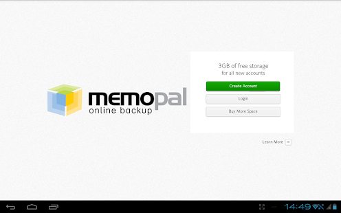 Memopal online backup Tablet - screenshot thumbnail